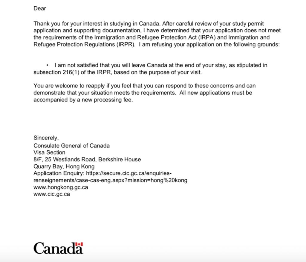 IRCC Study Permit reject